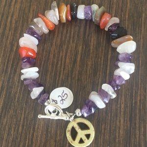 Semi-precious boho bracelet with pe…